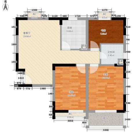 西郡188花园3室1厅1卫1厨104.00㎡户型图