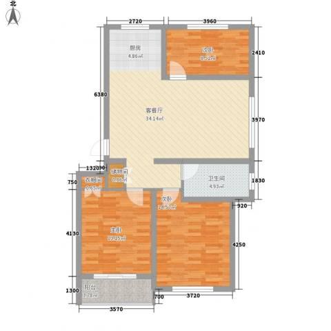 丽和阳光城3室1厅1卫0厨100.00㎡户型图