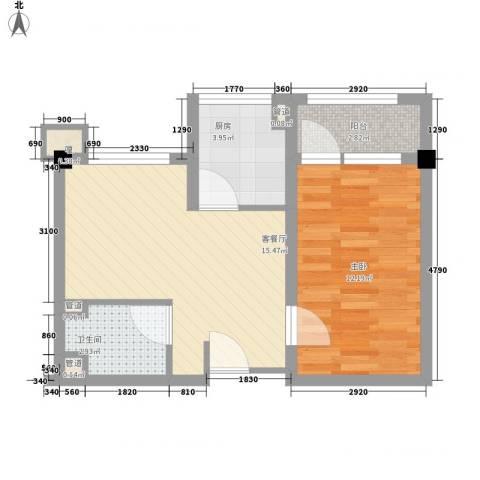 月半湾1室1厅1卫1厨56.00㎡户型图