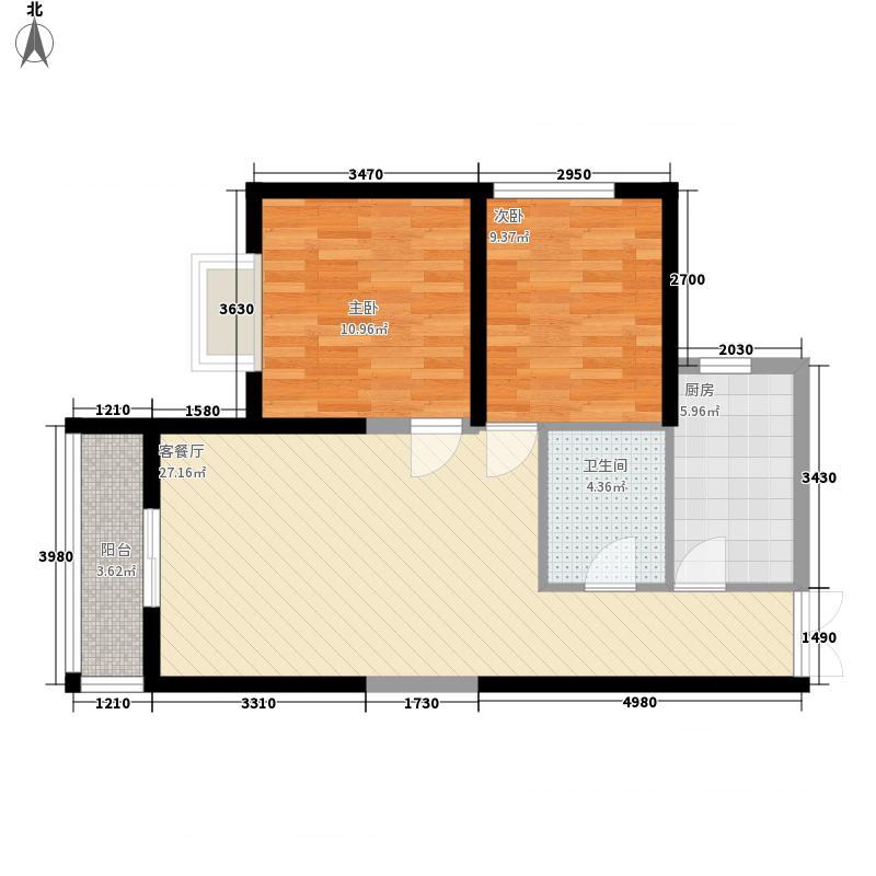 康乐花园89.84㎡2号楼朝西户型2室2厅1卫1厨