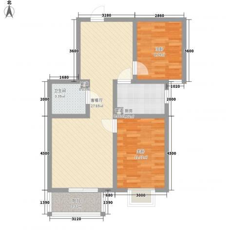 裕馨城二期2室1厅1卫1厨91.00㎡户型图