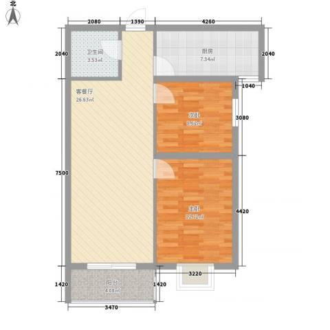 金色城市2室1厅1卫1厨89.00㎡户型图