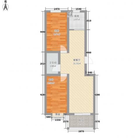 水岸绿城2室1厅1卫1厨73.00㎡户型图