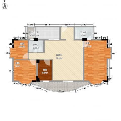 翡翠园山湖居4室1厅2卫1厨131.00㎡户型图