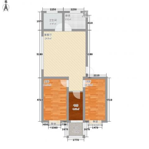 水岸绿城3室1厅1卫1厨89.00㎡户型图