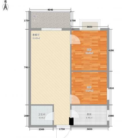 金色城市2室1厅1卫1厨78.00㎡户型图