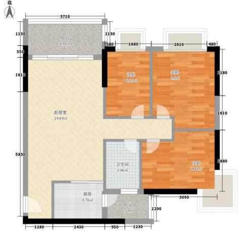 星城格调3室0厅1卫1厨91.00㎡户型图