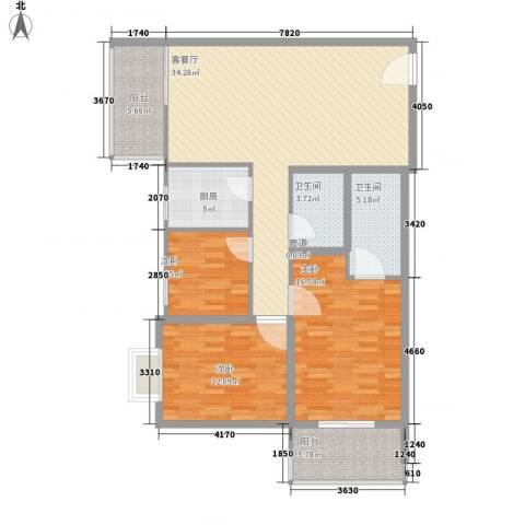 金色城市3室1厅2卫1厨133.00㎡户型图