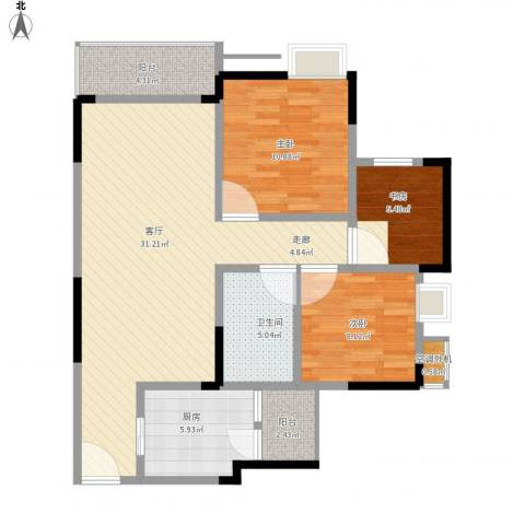 天王星铂晶城3室1厅1卫1厨106.00㎡户型图