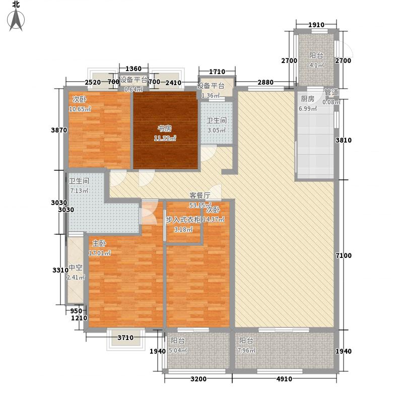 半山御景181.36㎡2#楼01单元户型4室2厅2卫1厨