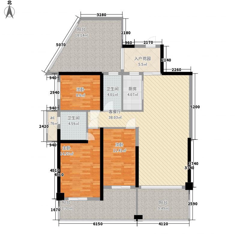 御景国际花园127.78㎡5栋2单元01偶数层户型3室2厅2卫1厨