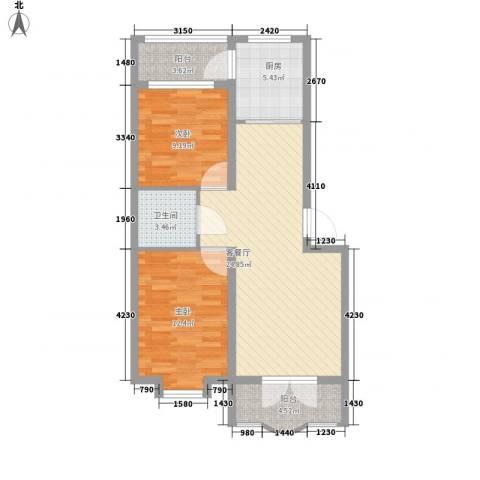 欧美亚世界阳光2室1厅1卫1厨64.00㎡户型图