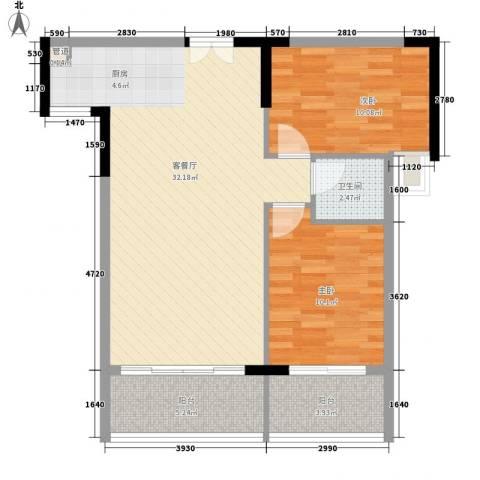 人民大厦2室1厅1卫0厨85.00㎡户型图