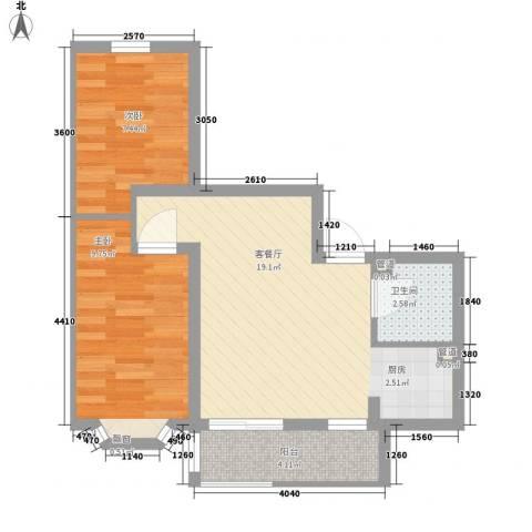 欧美亚世界阳光2室1厅1卫0厨51.00㎡户型图