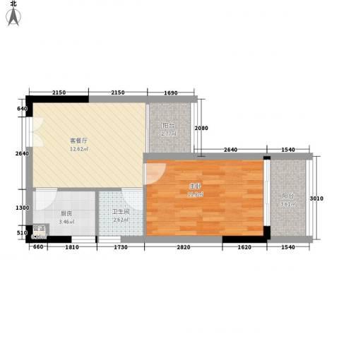 人民大厦1室1厅1卫1厨37.03㎡户型图