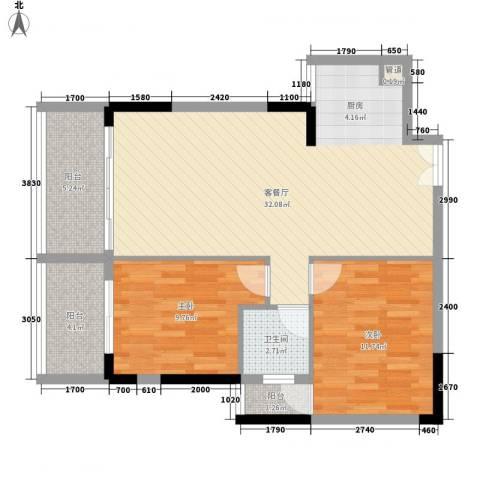 人民大厦2室1厅1卫0厨86.00㎡户型图
