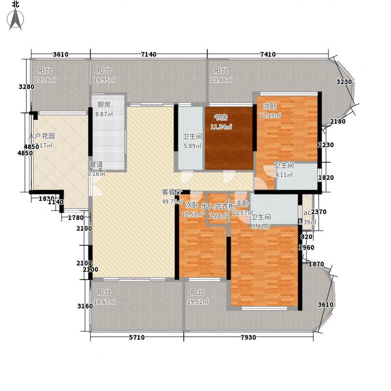 御景国际花园175.36㎡3栋2单元03奇数层户型4室2厅3卫1厨