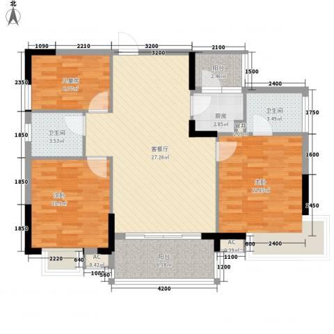 联华花园城二期3室1厅2卫1厨135.00㎡户型图