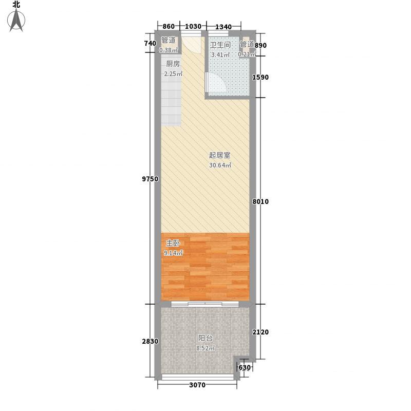 合景・汀澜海岸61.25㎡公寓T1户型1室1厅1卫1厨