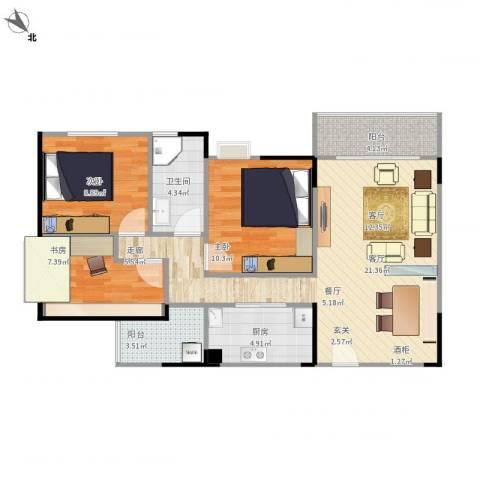 龙军花园3室1厅1卫1厨96.00㎡户型图