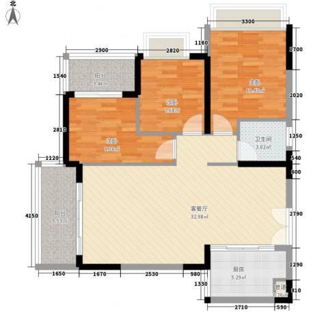 人民大厦3室1厅1卫1厨78.43㎡户型图