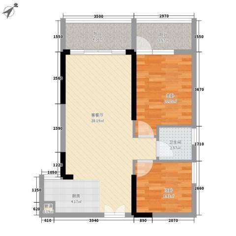 人民大厦2室1厅1卫0厨76.00㎡户型图