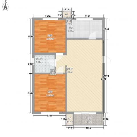 荣泰尚都2室1厅1卫1厨91.00㎡户型图