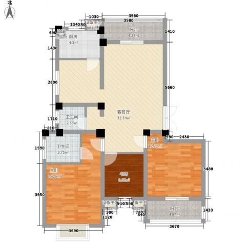九五花园3室1厅2卫1厨125.00㎡户型图