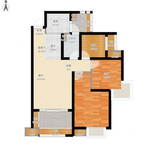 中海胥江府2室1厅1卫1厨110.00㎡户型图