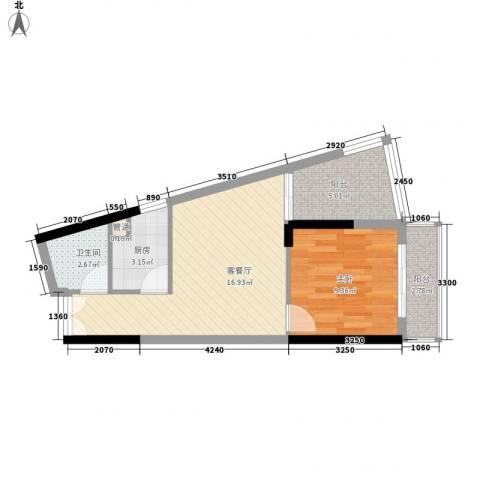 人民大厦1室1厅1卫1厨51.00㎡户型图
