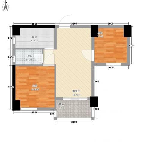 名门世家2室1厅1卫1厨73.00㎡户型图