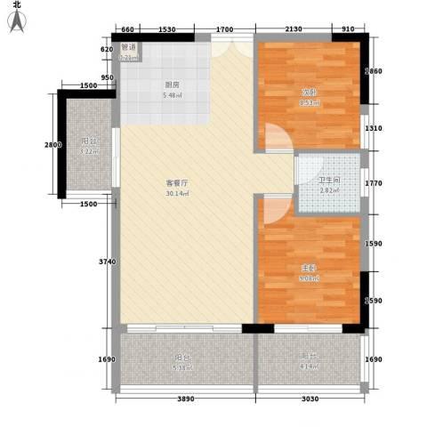 人民大厦2室1厅1卫0厨78.00㎡户型图