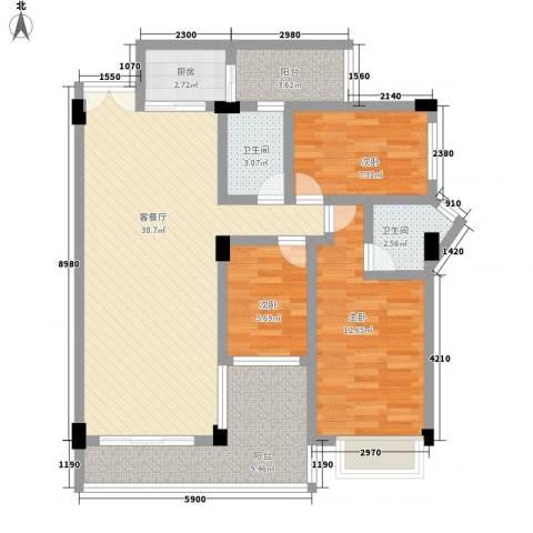 富德居3室1厅2卫1厨116.00㎡户型图