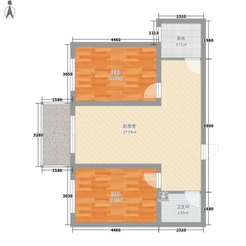 尧和宁苑三期2室0厅1卫1厨89.00㎡户型图