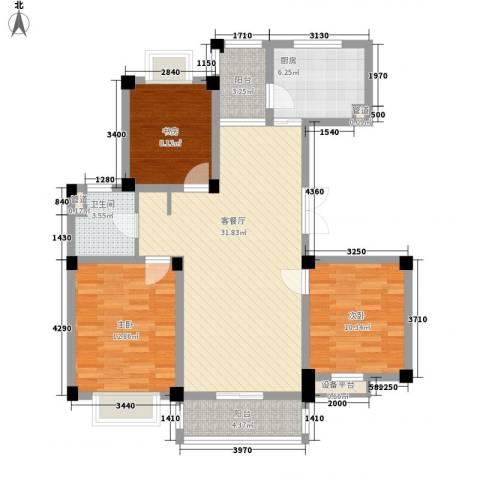 九五花园3室1厅1卫1厨118.00㎡户型图