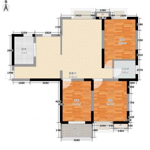 园城汇龙湾3室1厅1卫1厨127.00㎡户型图