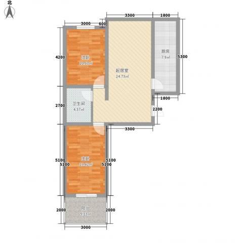 尧和宁苑三期2室0厅1卫1厨66.57㎡户型图