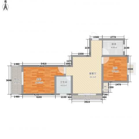 园城汇龙湾2室1厅1卫1厨89.00㎡户型图