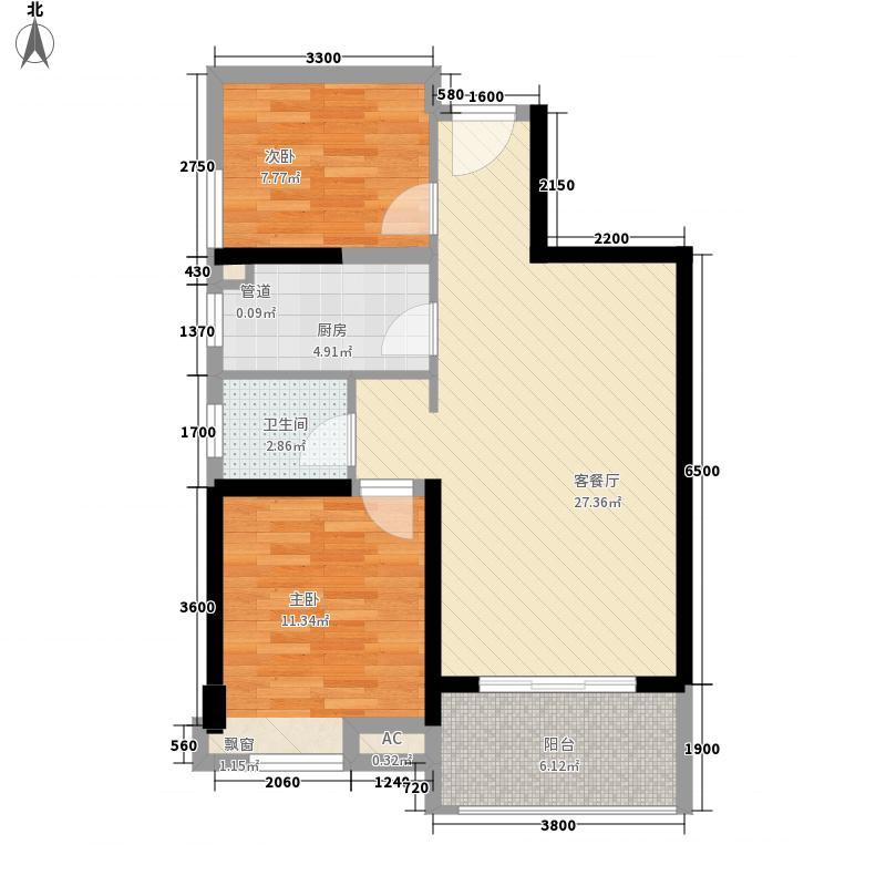 永隆翡翠湾78.30㎡高层-08户型2室2厅1卫1厨