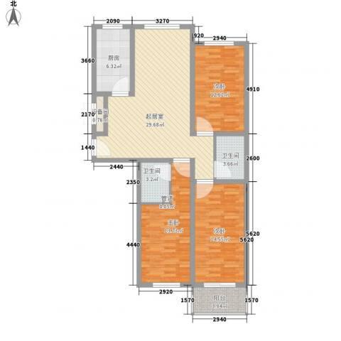 尧和宁苑三期3室0厅2卫1厨127.00㎡户型图