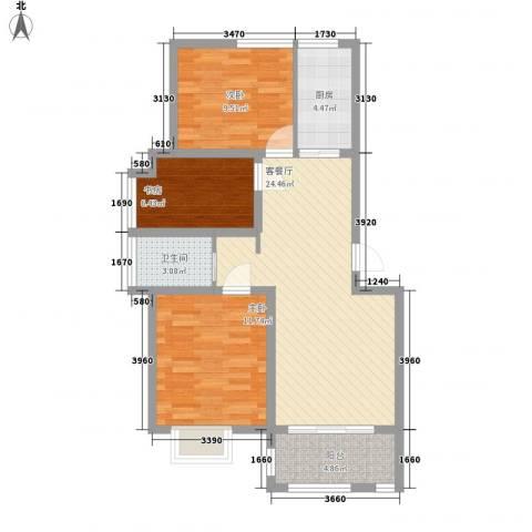 福泰御河湾3室1厅1卫1厨64.55㎡户型图