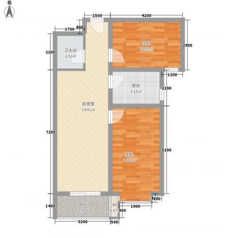 尧和宁苑三期2室0厅1卫1厨86.00㎡户型图