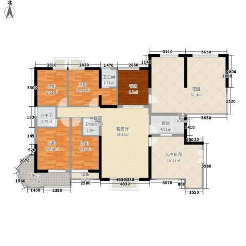 禹洲世纪海湾5室1厅3卫1厨141.93㎡户型图