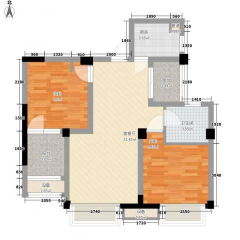未来锦城2室1厅1卫1厨82.00㎡户型图