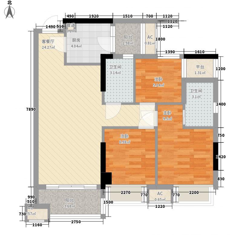 德雅湾阳光海85.77㎡1幢4幢03单元、3幢6幢02单元户型3室2厅2卫1厨