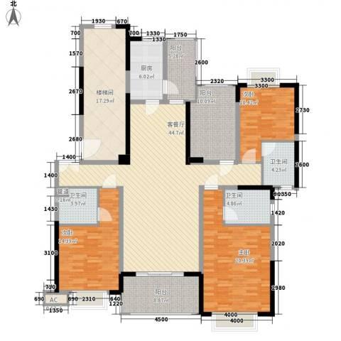 锦绣山河四期3室1厅3卫1厨215.00㎡户型图