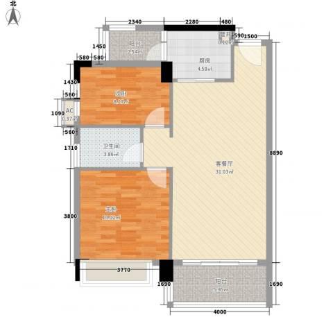 联华花园城二期2室1厅1卫1厨97.00㎡户型图