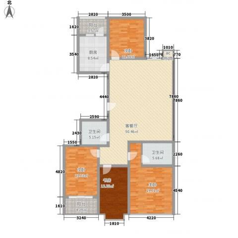 银海水韵4室1厅2卫1厨190.00㎡户型图