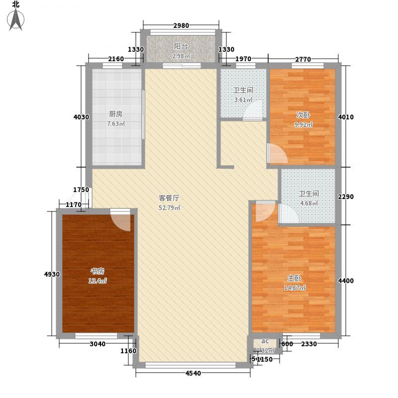国秀家园134.30㎡NH双卫户型3室2厅2卫1厨