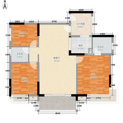 联华花园城二期3室1厅2卫1厨121.00㎡户型图